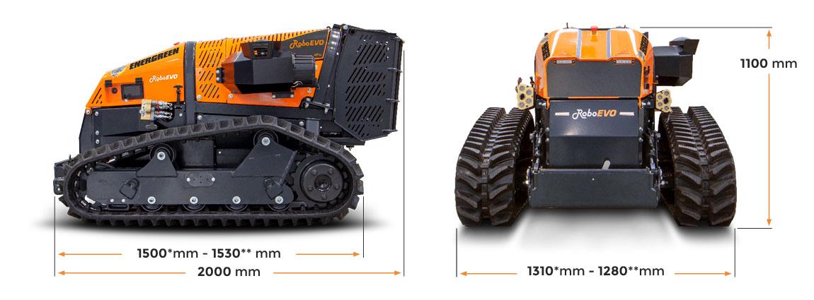 roboevo - trinciatrice telecomandata - dimensioni - energreen macchine professionali